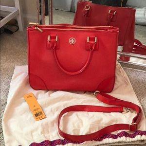 Tory Burch Robinson Double ZIP Tote in Poppy Red